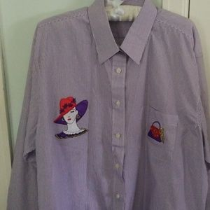 Red Hat Society striped button down shirt XL